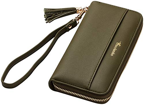 Travelambo Womens Wallet Tassel Bifold Ladies Cluth Wristlet Wrist strap Long Purse (Access Green Army) ()