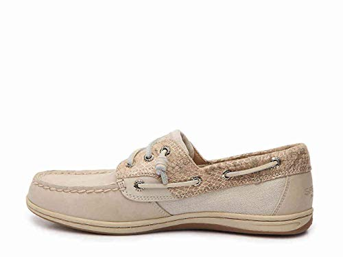 SPERRY Womens Songfish Leather Almond Toe Boat Shoes, Snake Oat, Size 5.5