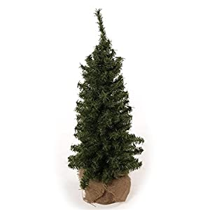 24 Inch Tabletop Christmas Pine Tree with Burlap Wrapped Base, Artificial Pine Tree by DE 100