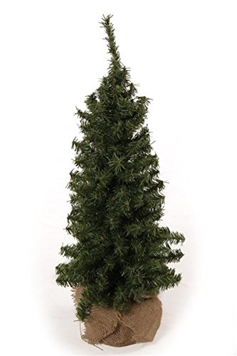 (DE 24 Inch Tabletop Christmas Pine Tree with Burlap Wrapped Base, Artificial Pine Tree)