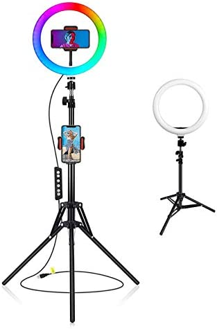 "10"" RGB Selfie Ring Light with 68"" Extendable Tripod Stand,Flexible Phone Holder for Live Stream/Makeup,Led Camera Ringlight for YouTube TikTok/Photography Compatible for iPhone(Upgraded)"