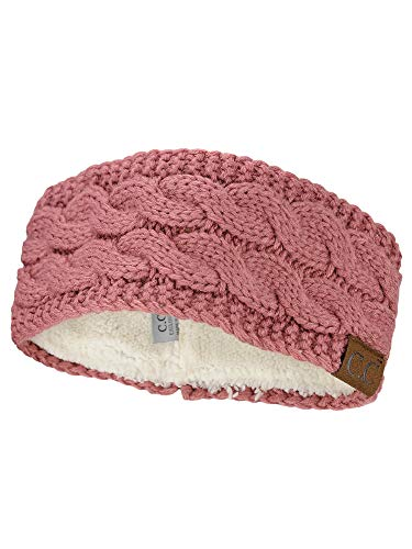 C.C Soft Stretch Winter Warm Cable Knit Fuzzy Lined Ear Warmer Headband, Mauve