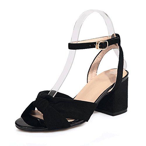 Sexy Summer High Black 34 Shoes Heel Rough Black Ladies Size Red Color Wedding Sandals Heels B5Up5Zq