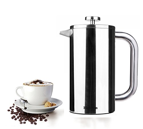 Highwin French Press Coffee & Tea Maker - Durable Double Wall Insulated Stainless Steel Coffee Pot Plunger - 34-Ounce