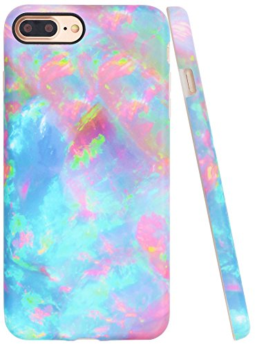 Iphone 7 Plus Case, Iphone 8 Plus Case Colorful, A-Focus Frosted Slim Pink Blue Green Marble Pattern Series Anti-Finger Flexible TPU Cover Case for Iphone 7 Plus / Iphone 8 Plus 5.5″ – Matte Colorful
