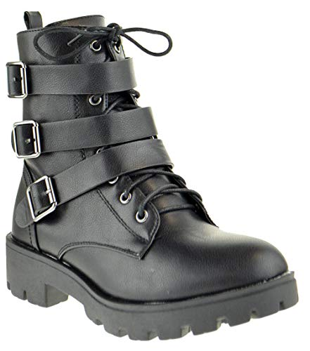 Bamboo Wildone 02S Womens Military Triple Buckle Strappy Combat Ankle Boots Black 9