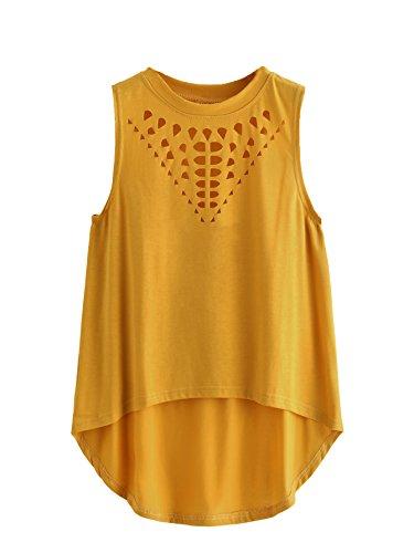 (Milumia Women's Casual Hollow Sleeveless Round Neck Dip Hem Tank Top X-Large Yellow)