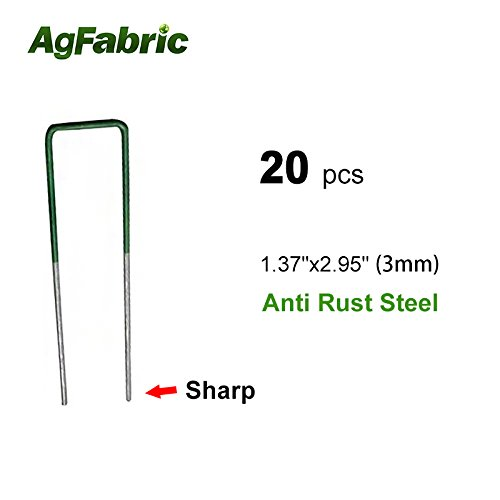 Agfabric 20 -Pack Anti-Rust Galvanized Ground Staples Heavy-Duty Steel Sod Stakes Anchor Pins U-Shaped Garden Securing Pegs for Securing Landscape Weed Fabric