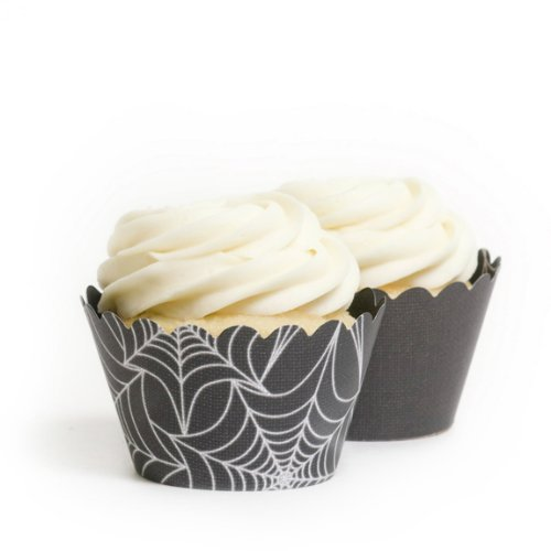 Dress My Cupcake Spider Web Halloween Reversible Cupcake Wrappers, Set of 12 (Halloween Decoration Ideas For Cupcakes)