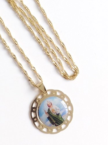 St Jude Medal 18k gold plated chain 19.5 inches 49 cm long San Judas - Jude Gold