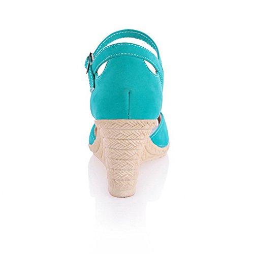 Peep Hebilla Cuña Mujeres Sólido de Azul Sandalia AllhqFashion qCOfx45w