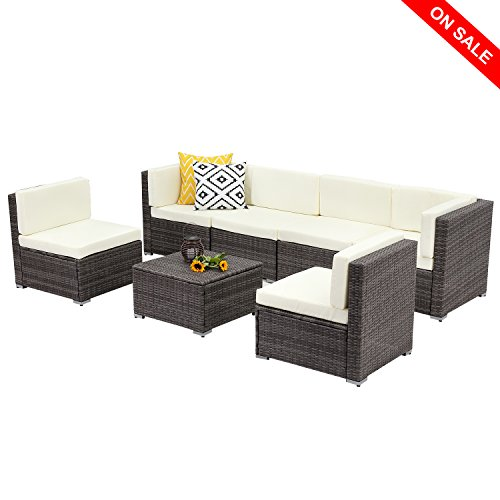 Wisteria Lane Outdoor Conversation Patio Furniture Set,7 PCS Ratten Sectional Sofa Couch Cushion, Gray Wicker -