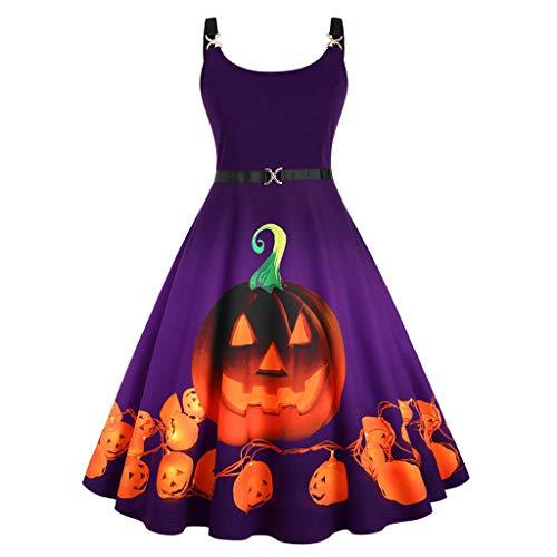 Womens Casual Halloween Dress Pumpkin Stripe Swing Dress A-line Flared Party Costume Plus Size O-Neck Sleeveless Dress Purple, XXL (Trek Plus Star Size Costume)