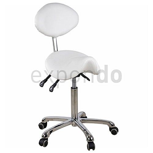 Physa - Sattelstuhl Comfort weiß - Höhenverstellbar - Rückenlehne verstellbar - 5 Räder - Gesundheitsschonend