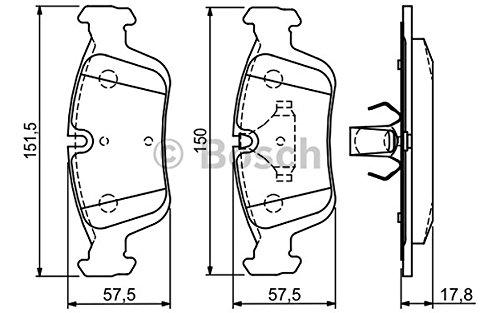 Bosch 0/986/494/015/gioco di 4/piastrine di freno anteriore