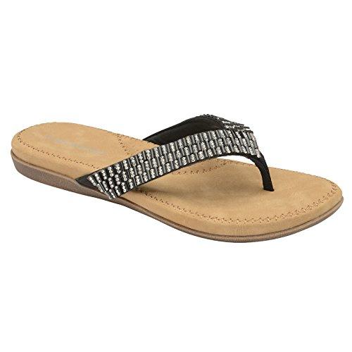 para Beaded Sandalias Dunlop de Mujer Material Black Sintético IUwqwTP