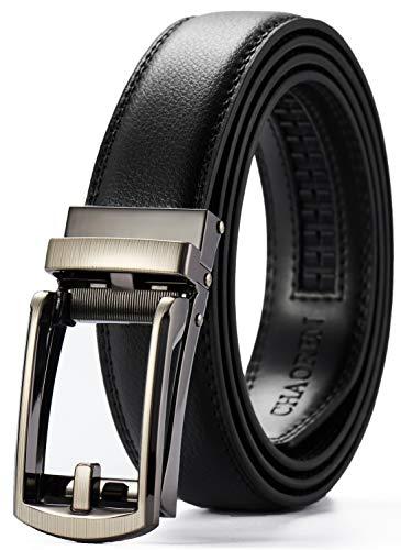 "Leather Ratchet Dress Belt 1 1/8"" with Slide Buckle, CHAOREN Click Adjustable Belt Comfort Exact Fit"