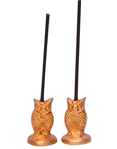 ick Holder or Agarbatti Stand: Sculpted in Brass & Shaped like an Owl : Vahan of Goddess Lakshmi, Set of 2 (10636) ()