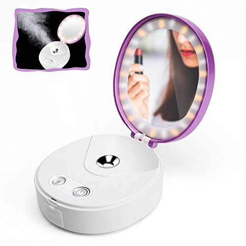 Wanery Portable Lighted Make Up HD Mirror, Nano Cool Mist Spray Mineral Water Meter Facial Moisturizing Hydrating Atomization Humidifier Face Steamer, Emergency Power Charger Beauty Instrument Purple