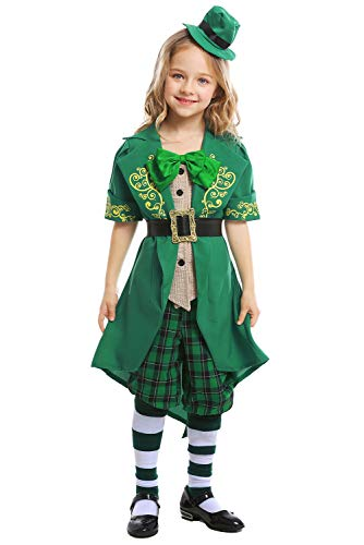 Newhui Little Girls St Patrick's Day Elf Green Costume Suits Kids Ireland Carnival Party Green Outfit Tailcoat Hat (M(120-130cm))