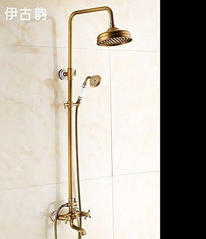 BL European antique copper shower set vintage hot and cold water ...