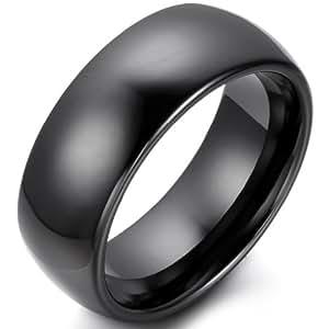 Jewelrywe Banda de negro pulido de la joyería de Hombres Mujeres cerámica compromiso par anillo y bodas para su 8mm y 6mm su