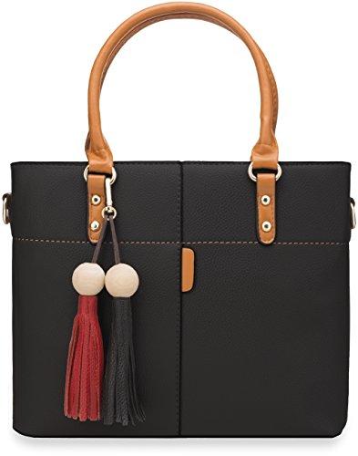 klassische Damentasche mit Versteppungen und Fransen schwarz