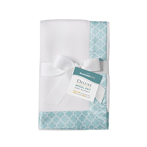 BreathableBaby Deluxe Modal Moroccan Design Knit Baby Blanket, Seafoam