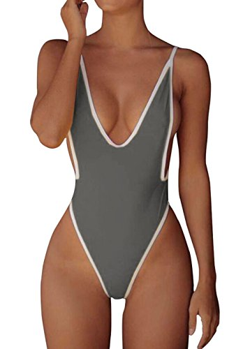 ALLureLove Swimsuits for Women Sexy Monokini Deep V One Piece Bathing Suits Backless Cheeky Swimwear Semi Thong Bikini (Grey, Small)