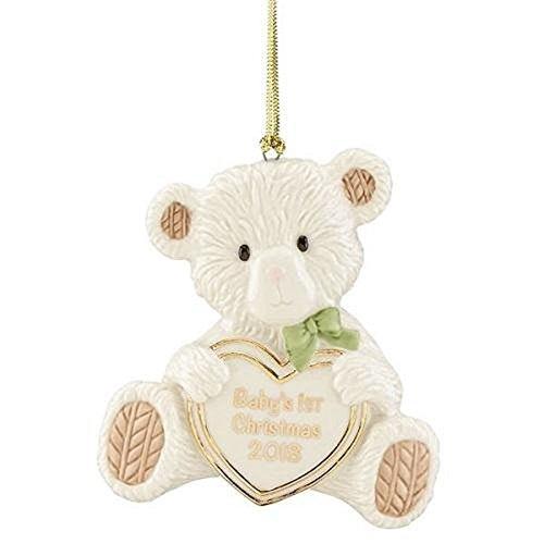 Lenox 2018 Baby's First Christmas Teddy Bear Ornament (Babys First Christmas Bear Ornament)