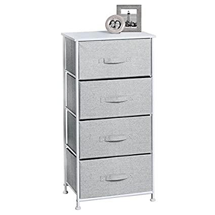 Merveilleux MDesign Fabric 4 Drawer Storage Organizer Unit For Bedroom, Nursery, Office    Gray