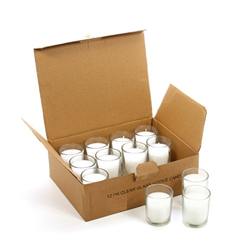 (Hosley Set of 48 Unscented White Clear Glass Wax Votive Filled Candles. Hand Poured Vegetable Soy Wax Blend, Up to 15 Hour Burn Time. Ideal Gift or Use for Weddings, Aromatherapy, Party Favor O3)