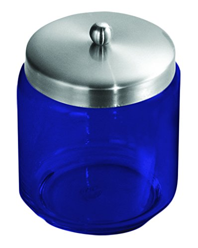 InterDesign Forma Apothecary Jar Brushed Stainless Steel - Full Color Cobalt Blue - Additional Vibrant Colors Available by TableTop King