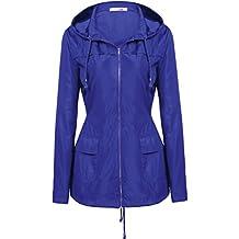 Meaneor Women's Hooded Lightweigt Waterproof Rainwear Outdoor Long Slim Raincoat