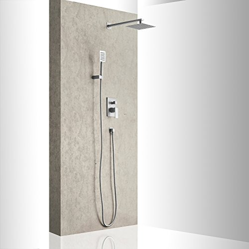 Aquafaucet Brushed Nickel Bathroom Luxury Rain Mixer Shower Combo Set Wall Mounted Rainfall Shower Head System (Contain Shower faucet valve body and trim) by Aquafaucet (Image #1)