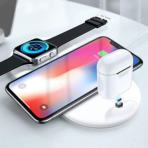 (DOMIRRO Wireless Charger, 3 in 1 Qi Charging pad, Ultra-Slim Fast Charge Dual for iPhone X/8/8 Plus/XR/XS Max Apple Watch Stand 2/3 Airpods Samsung Galaxy S8/S9 and Other Qi Compatible Devices)