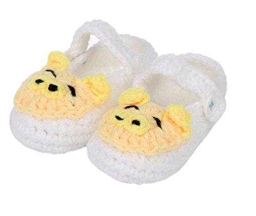 Smile YKK Strick Schuh Baby Unisex Strickschuh süße Stil One-Size 11cm Schwein Weiss