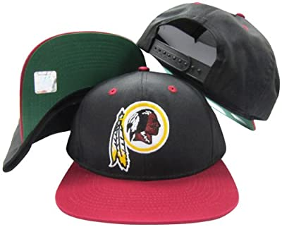 Washington Redskins Black/Maroon Two Tone Plastic Snapback Adjustable Plastic Snap Back Hat/Cap