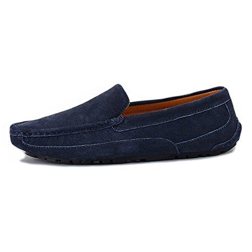 Mocasines Hecho a de Mano Náuticos Hombres Zapatos Sutura de los Cuero Genuino Trabajo Mocasines Conducción Navy de Gamuza r8w0qgYr