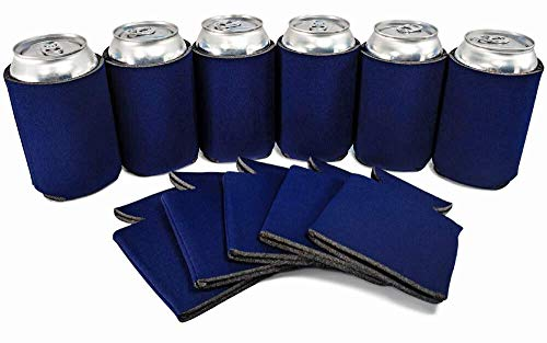 PartyPrints 25 Can Sleeves - Bulk Blank Can Coolers - Navy Blue Beer Sleeves for Cans and Bottles - Blank Drink Coolers - DIY Party -