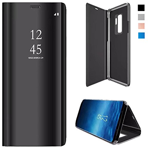 best sneakers e44ca 09a25 Samsung Galaxy S9 Plus Flip Case, Mirror Screen Clear View Leather Flip  Smart Kickstand Case Cover for Samsung Galaxy S9 Plus-Black