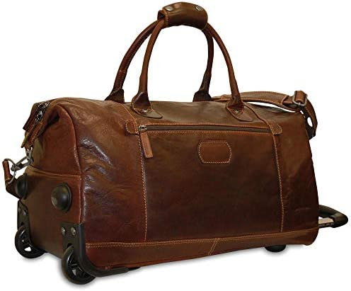 Jack Georges Voyager Leather Wheeled Duffle Bag