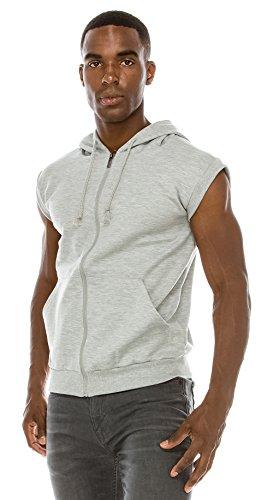 Black Mens Hooded Vest - Angel Cola Men's Sleeveless Hoodie Zip Up Vest PT601 N.Light Gray XS