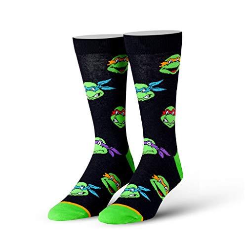 Cool Socks Men's Knit Crew Socks, Teenage Mutant Ninja Turtles, Retro Turtle Heads (Multi, 6-13)