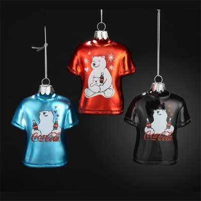 Kurt Adler Red Coca-Cola T-Shirt with Polar Bear Ornaments Set 3 (Coca Christmas Cola Decor)