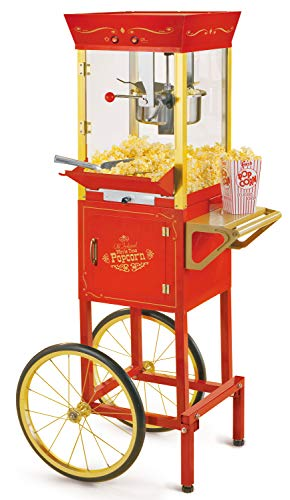 Nostalgia CCP510 Vintage Professional Popcorn Cart-New 8-Ounce Kettle-53 Inches Tall-Red (Cart And Machine Popcorn)