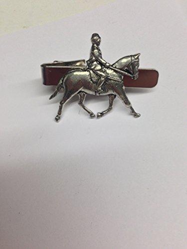 showpony pp-e02Cheval et cavalier en étain anglais emblème sur une pince à cravate 4cm long