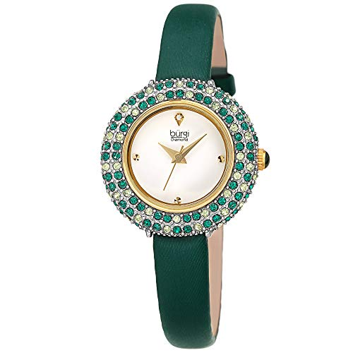 (Burgi Swarovski Colored Crystal Watch - A Genuine Diamond Marker - Slim Leather Strap Elegant Women's Wristwatch - Mothers Day Gift - BUR240GN (Green))