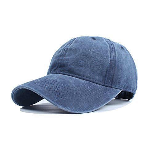 Vankerful Unisex Vintage Washed Dyed Dad Hat Plain Cotton Twill Low Profile Adjustable Solid Colour Baseball Cap Strapback (Navy)