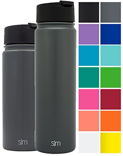 Simple Modern 22oz Summit Water Bottle + Extra Lid - Vacuum Insulated Stainless Steel Wide Mouth Hydro Travel Mug - Powder Coated Double-Walled Flask - Slate Gray